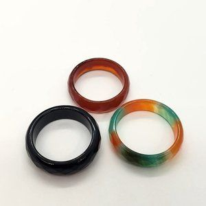 Pack Of 3 Eternity Style Agate Ring,